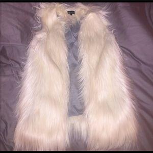 White faux fur vest topshop
